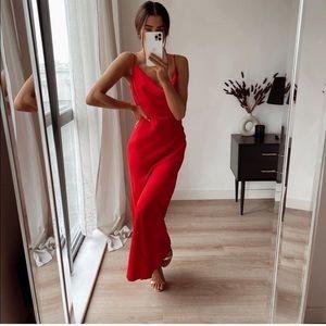 NWT ZARA Satin Dress Red S Blogger's Favorite